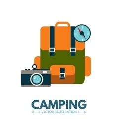 Backpack camping icon vector