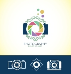 Photo camera floral logo vector image