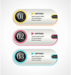 Horizontal silver options banners or buttons with vector