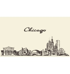 Chicago skyline vintage drawn sketch vector