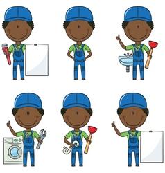 African-American plumber vector image vector image