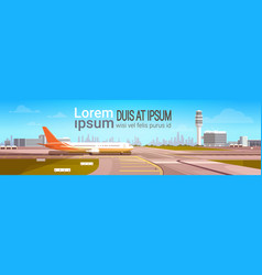airport terminal with aircraft flying plane taking vector image vector image