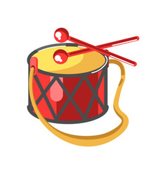baby drum with diamond ornament and two red sticks vector image