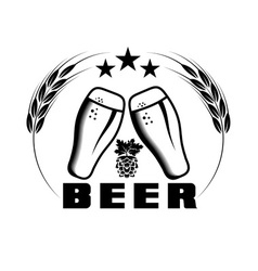 beer emblem design template vector image vector image