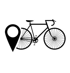 bike or bicycle and gps map pointer icon vector image
