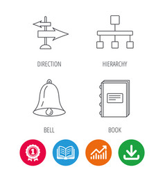 Book hierarchy and direction arrows icons vector