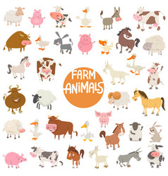 Cartoon animal characters large set vector
