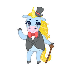 cartoon light blue unicorn in elegant suit with vector image vector image