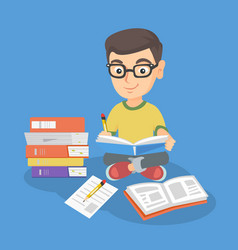caucasian kid sitting on floor and reading a book vector image