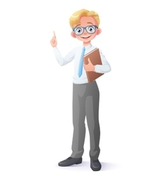 Clever young school boy with eyeglasses vector