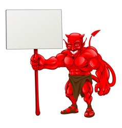 Devil standing holding sign vector