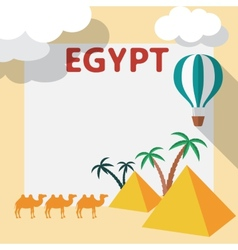 Egypt travel flat design with template and palm vector