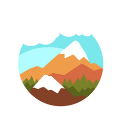 Flat round icon of natural landscape with vector