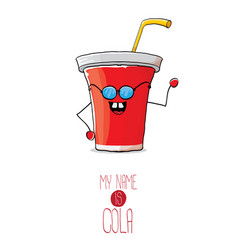 Funny cartoon cute red paper cola cup with vector