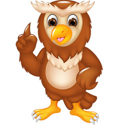 Funny owl cartoon posing with smile and pointing vector