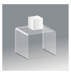 Glass rack shelf podium 3d isometric realistic vector
