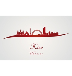 Kiev skyline in red vector