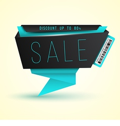 Modern origami banner SALE with barcode vector image vector image