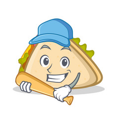 playing baseball sandwich character cartoon style vector image