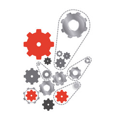 red and gray gears signs icon vector image
