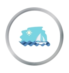 Sailing boat on the sea icon in cartoon style vector