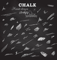 Set of hand-drawn chalk strokes and scribbles vector