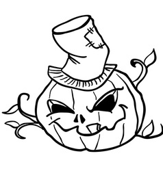 Simple black and white pumpkin head 1 vector
