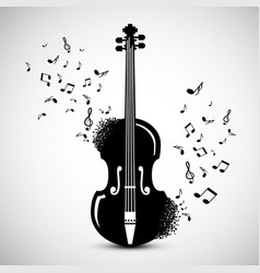 Violin with notes music background jazz festival vector