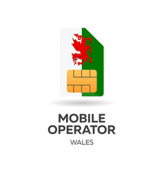 Wales mobile operator sim card with flag vector