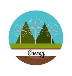 Windpower with nice mountain to care environment vector