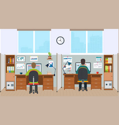 Workstation office interior with employees vector
