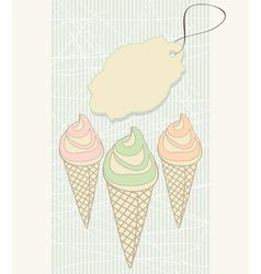 Ice cream cones with blank tag vector