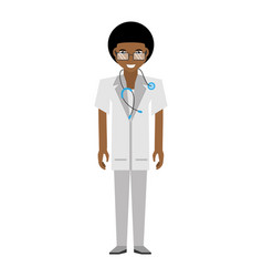 Doctor afro american man glasses stethoscope vector