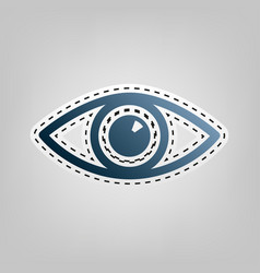 eye sign   blue icon with vector image
