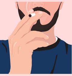 Man with a beard and mustache smoking cigarette vector
