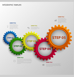 Info graphic with abstract colored design gears vector