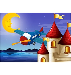 A sleeping moon an airplane and a castle vector