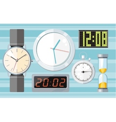 Set of colorful clocks icons vector