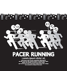 Pacer running with balloons symbol vector