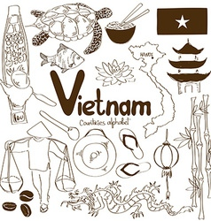 Collection of vietnamese icons vector