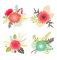Collection of bouquets with flowers and leaves vector