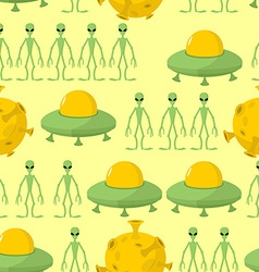 UFO and alien seamless pattern background vector image