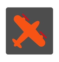 Screw aeroplane rounded square button vector