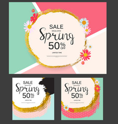 abstract design spring sale banner collection set vector image