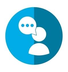 Avatar speech bubble message media blue circle vector