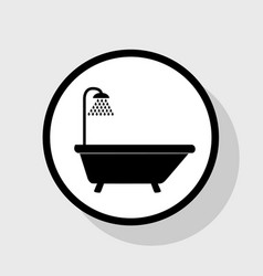 Bathtub sign flat black icon in white vector