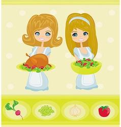 Beautiful Waitress vector image vector image