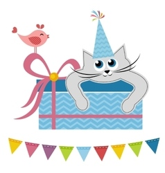 Cat and bird with gift vector image vector image
