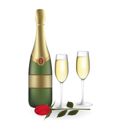 Champagne bottle with two glasses and rose vector