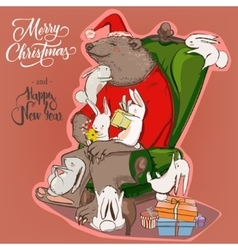 christmas card with bear and hares vector image vector image